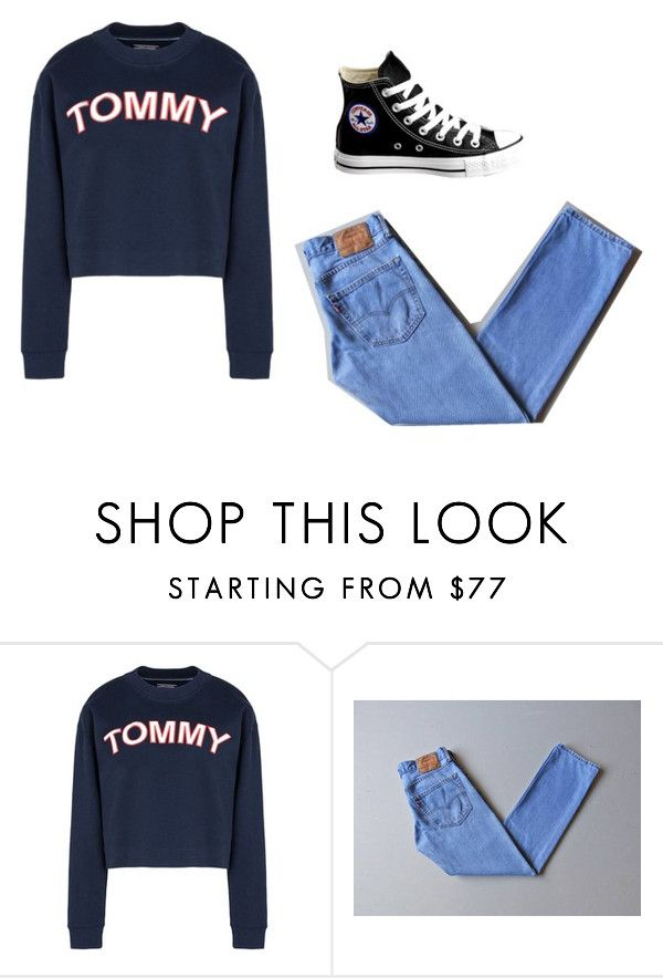 """vintage"" by euniceatoma on Polyvore featuring mode, Tommy Hilfiger, Levi's, Converse et vintage"