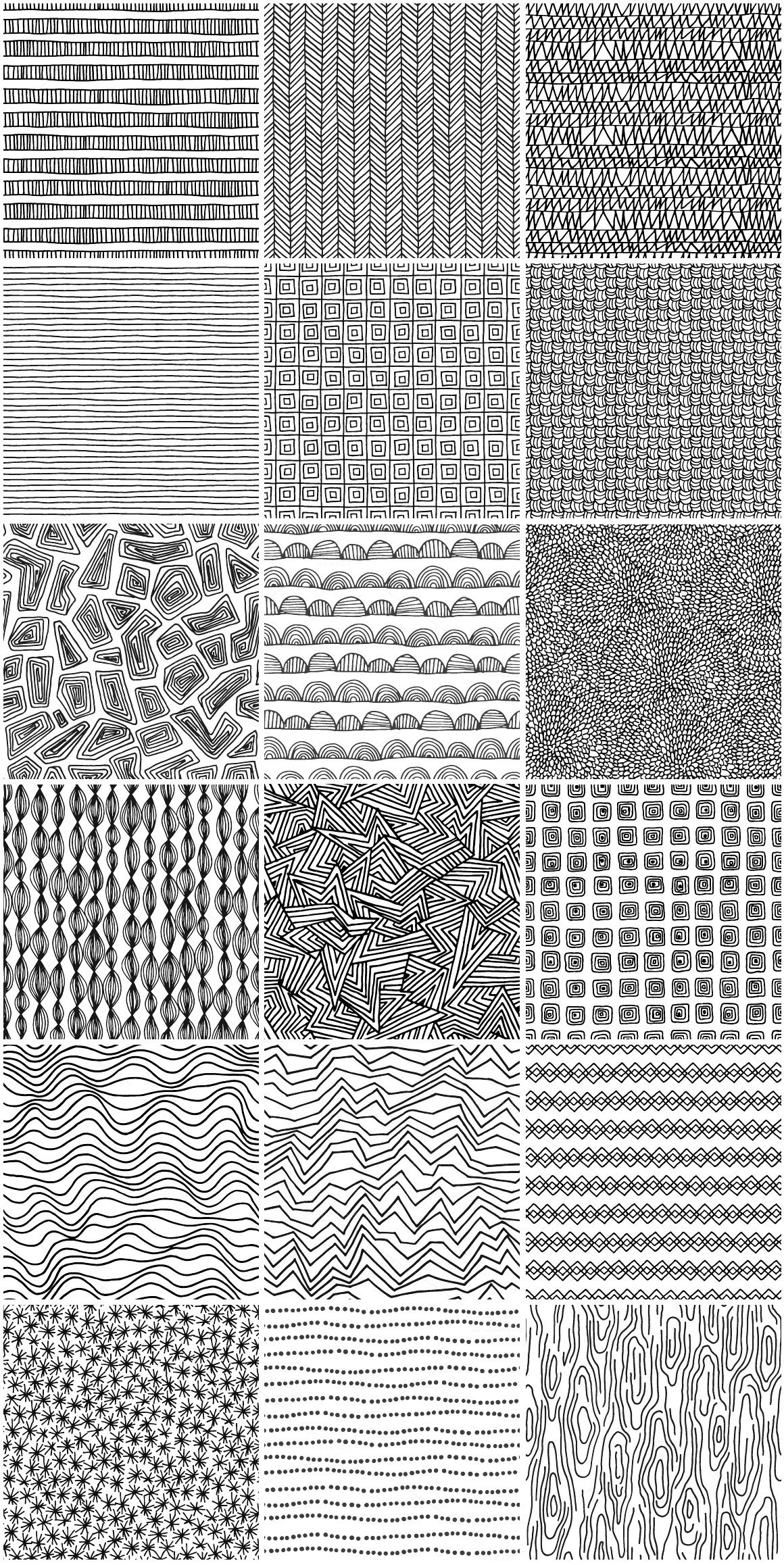 Seamless hand drawn patterns