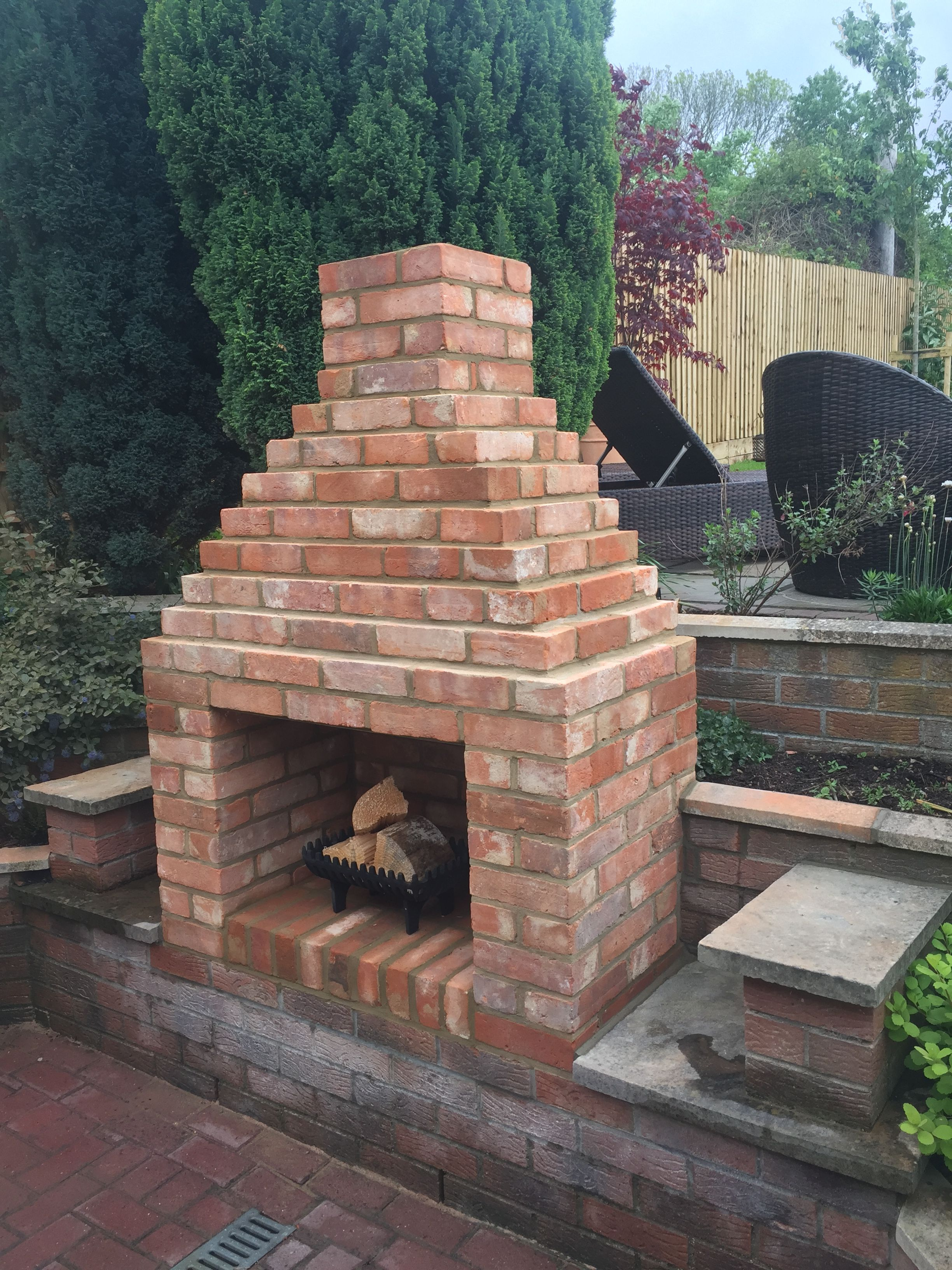 Our new brick outside fireplace | Outdoor fireplace patio ... on Brick Outdoor Fireplace Ideas id=93370