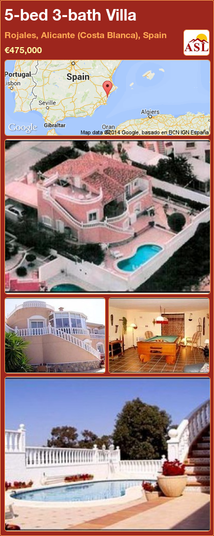 5-bed 3-bath Villa in Rojales, Alicante (Costa Blanca), Spain ►€475,000 #PropertyForSaleInSpain