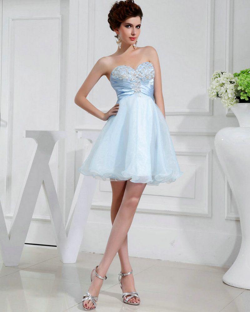 REAL MODEL Short Dress Party Prom Elegant Light Blue Organza Cheap ...