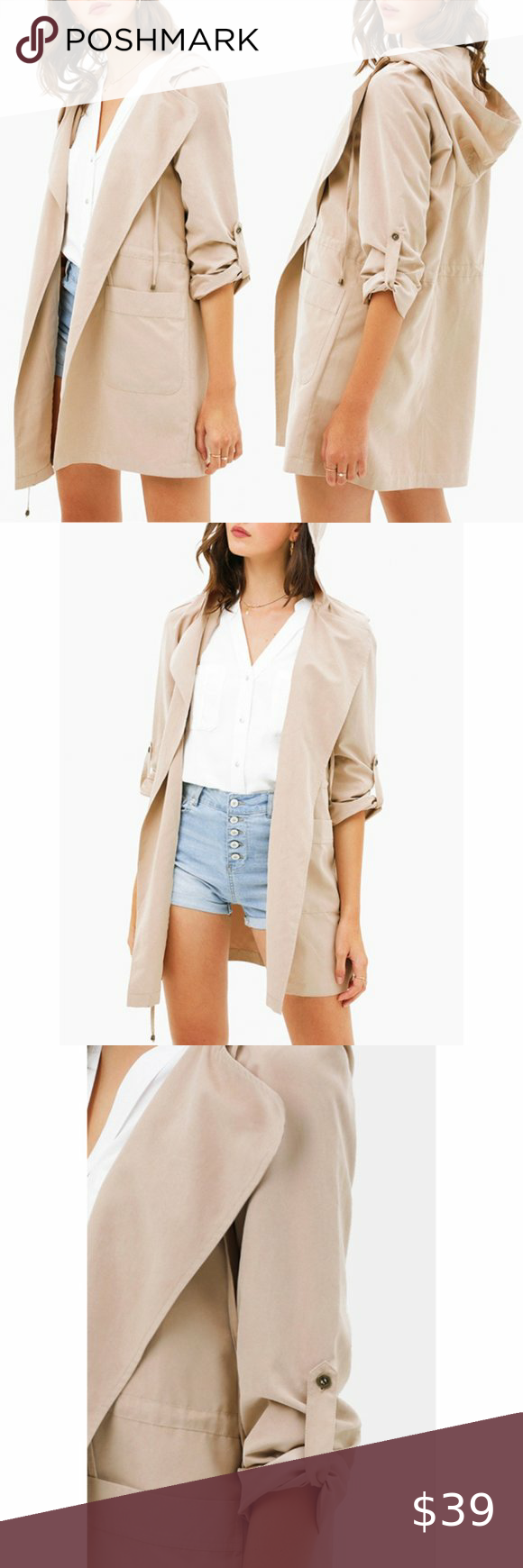 Taupe Hooded Trench Coat {Montrez}