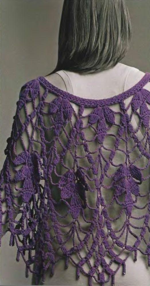 Patrones Crochet: Manton Chal Hojas Malva Patron | Ponchos ...