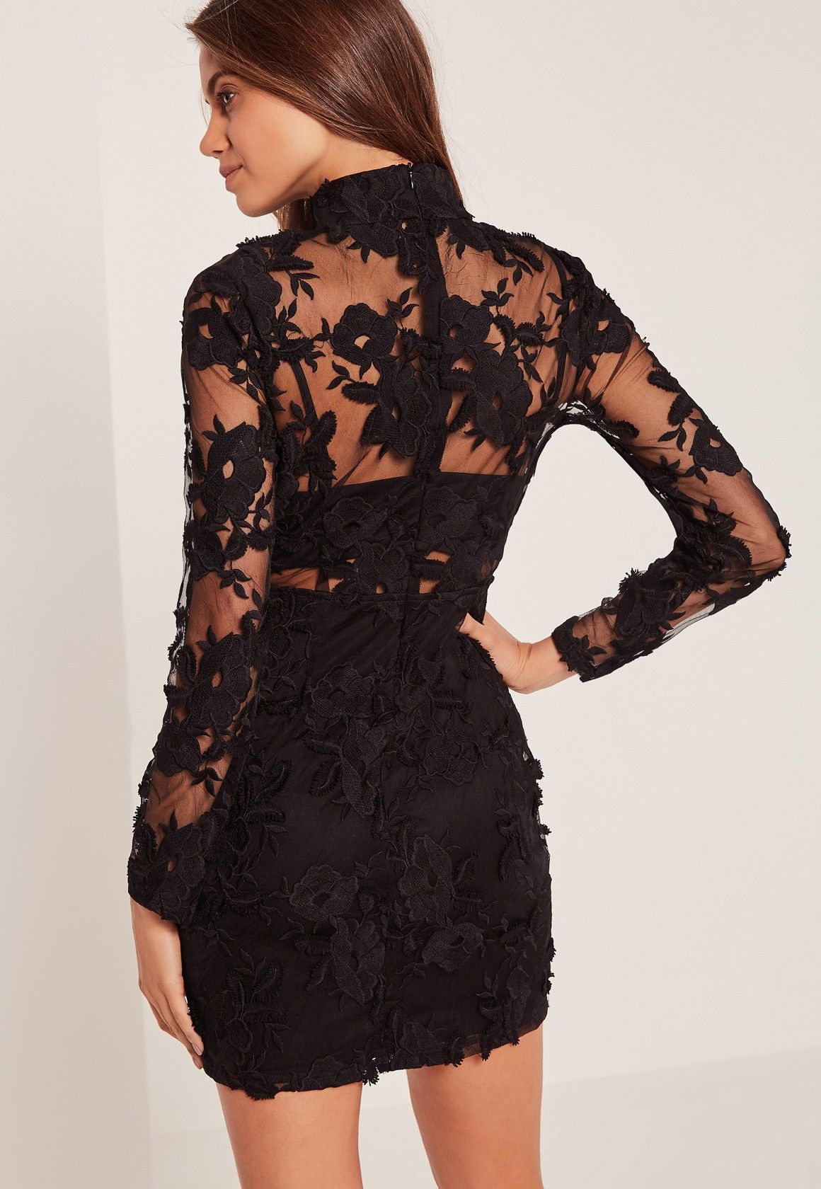 Missguided - High Neck Embroidered Lace Bodycon Dress Black