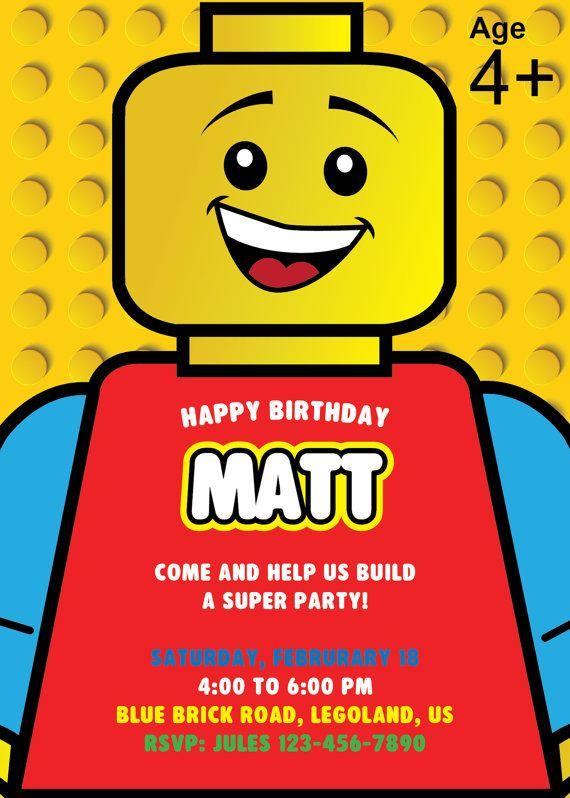 Lego Invitation, Lego Birthday Party Invite, Lego Birthday ...