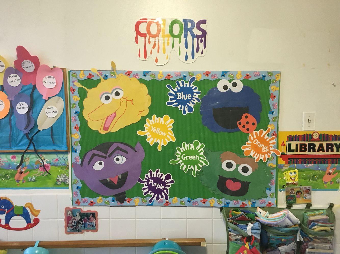Sesame Street Colour Board Preschool Classroom Decor Sesame Street Kindergarten Fun
