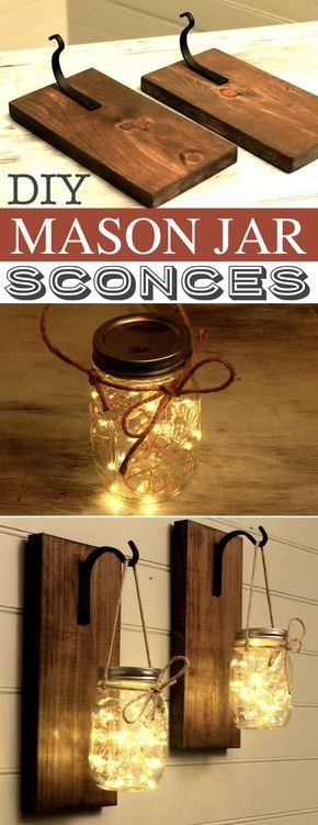 DIY Mason Jar Sconces -- A lot of DIY mason jar crafts, ideas and projects here! Some really great home decor and gift ideas. Listotic.com #masonjarcrafts