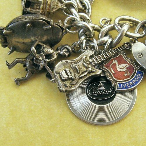 Beatles Charm Bracelet: Vintage English Silver Tribute To The Beatles Charm