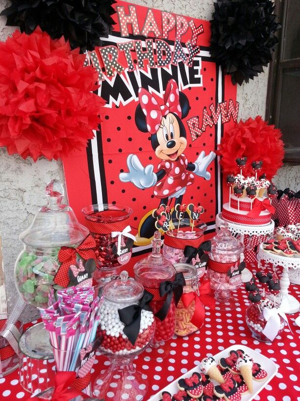 Custom Made Minnie Mouse Candy And Dessert Buffet Www Candyvixen Com Minnie Mouse Theme Party Minnie Mouse Party Minnie Mouse Theme