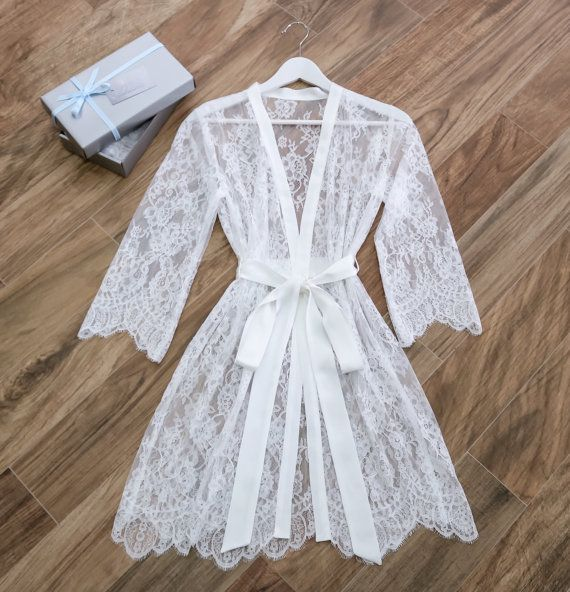 ab5f3d2c23 Soft Lace Bridal Robe  Getting Ready Robe  Dressing Gown  Gift for ...