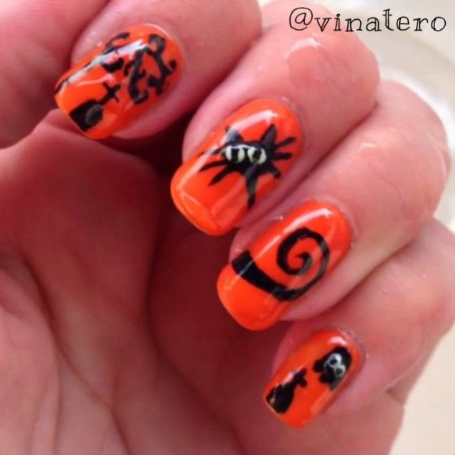Color changing Halloween gel nails - vinatero's video on ...