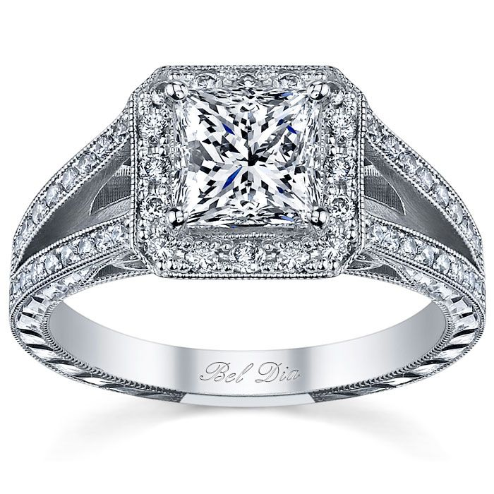Split shank halo engagement ring with princess cut center stone The hand eng