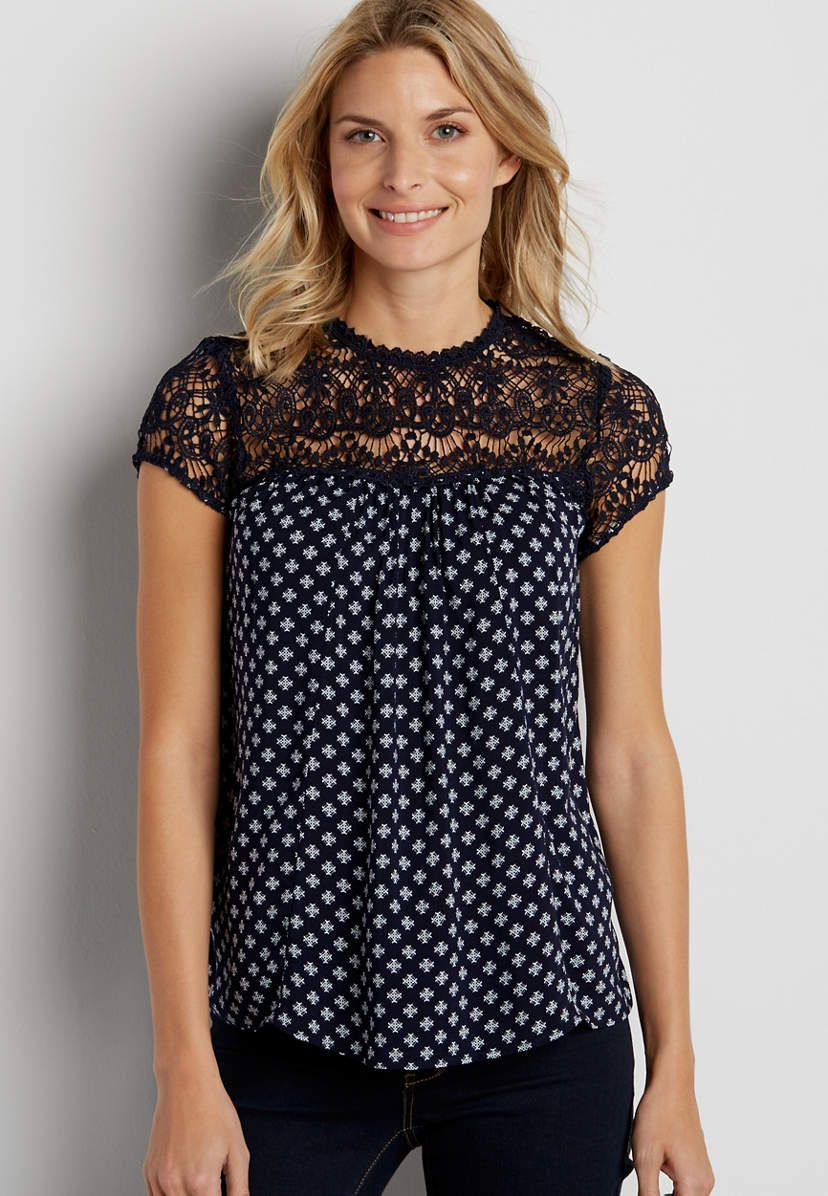 patterned top with lace yoke | maurices