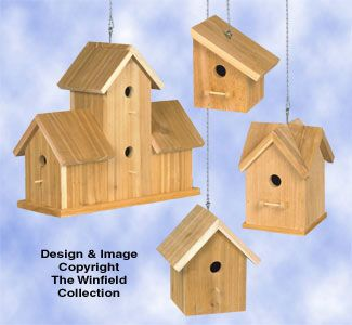 Cedar birdhouses 3 wood project plan from the winfield for Wooden bird house plans