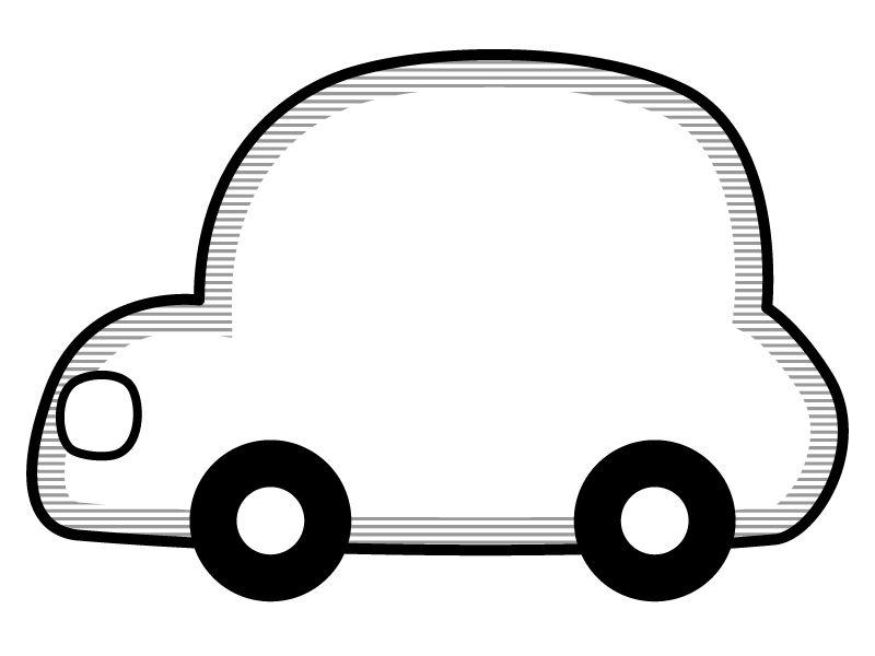 丸い車の形の白黒フレーム飾り枠イラスト 無料イラスト かわいいフリー素材集 フレームぽけっと 飾り枠 フレーム 飾り