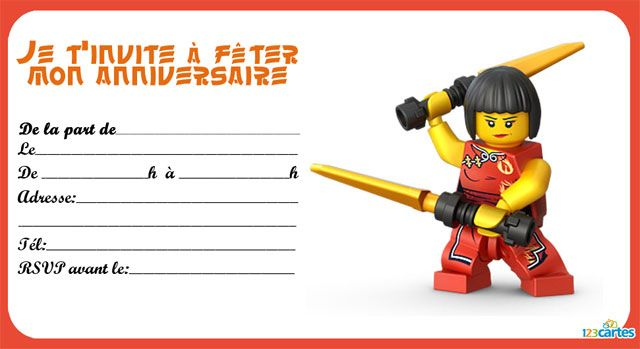 Coloriage ninjago jay coloriage pictures to pin on pinterest - 8 Invitations Anniversaire Lego Ninjago 123 Cartes