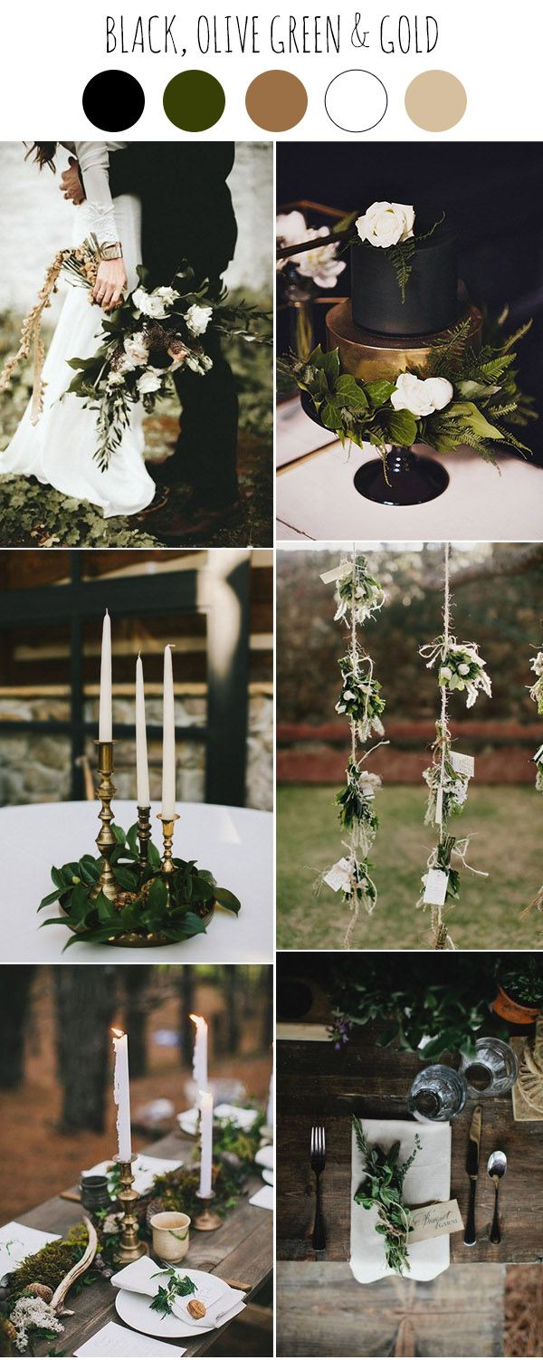 Wedding decorations black and gold  Chic Dark and Moody Fall Wedding Ideas and Colors  Greenery Black
