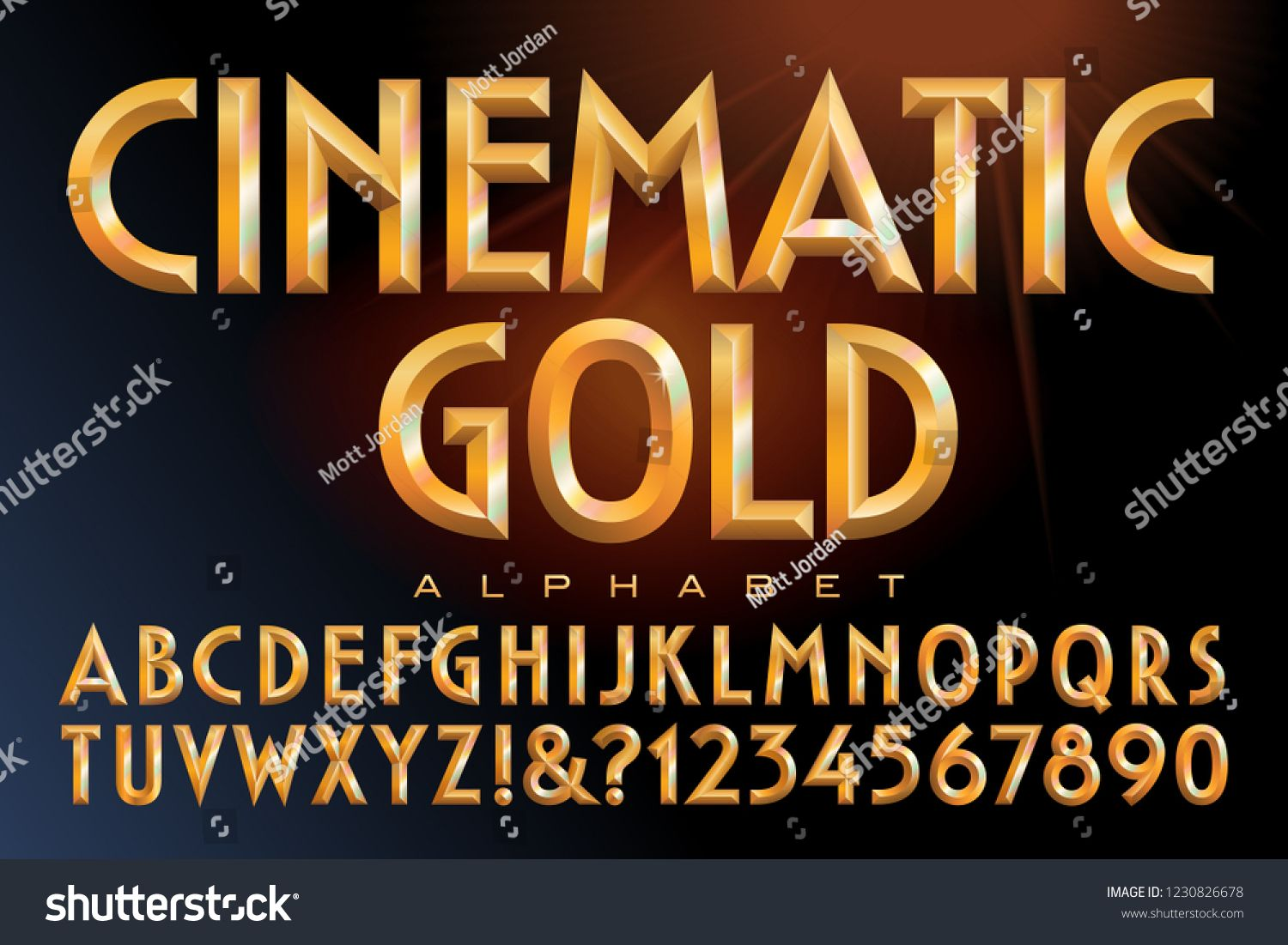 Vector Alphabet Of Golden Letters With Prismatic Rainbow Font Effects This Lettering Is Similar To Classic Cinema Titling St Lettering Fonts Lettering Letters