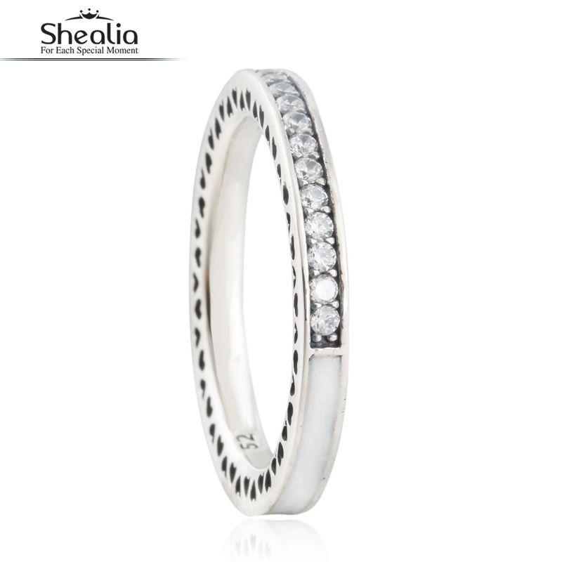 925 Sterling Silver Emalia Radiant Serca Pierścionki Dla Kobiet Cz