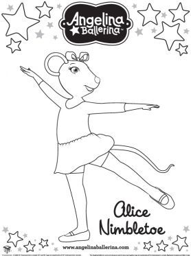 alice nimbletoe coloring page angelina ballerina coloring pages for kids sprout