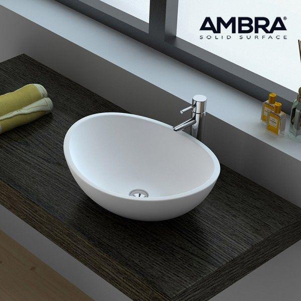 Vasque A Poser Ovale En Solid Surface 42 Cm Ovea Vasque A Poser Agencement Salle De Bain Meuble Pour Vasque A Poser