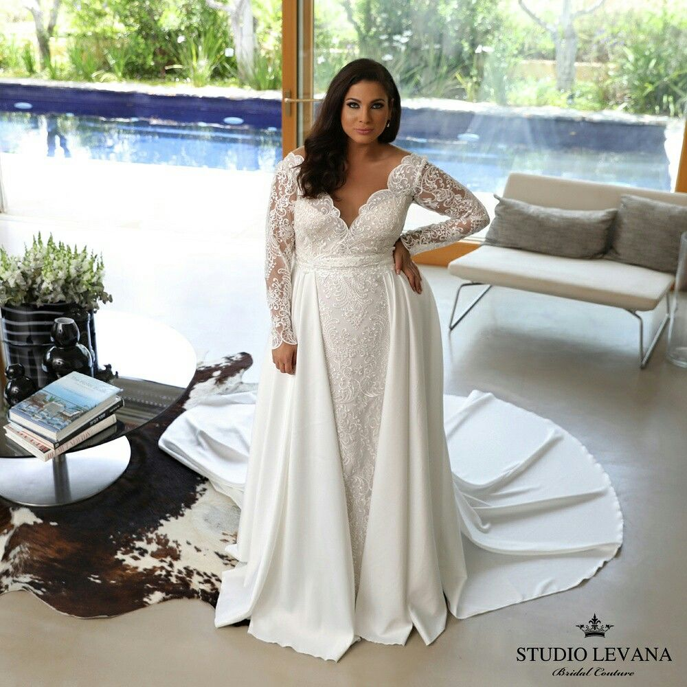 Plus size lace mermaid wedding gown with satin overskirt. Milena ...