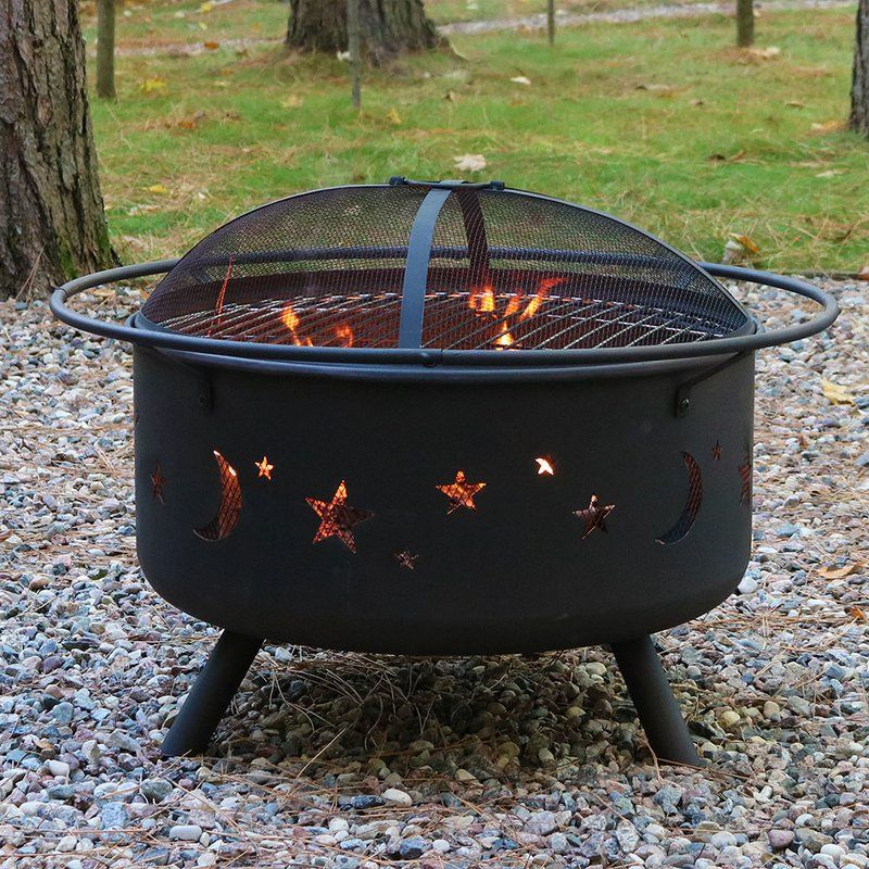 Freeport Park Sedgwick Steel Wood Fire Pit With Cooking Grill Reviews Wayfair With Images Fire Pit Sets Wood Burning Fire Pit Fire Pit Grill