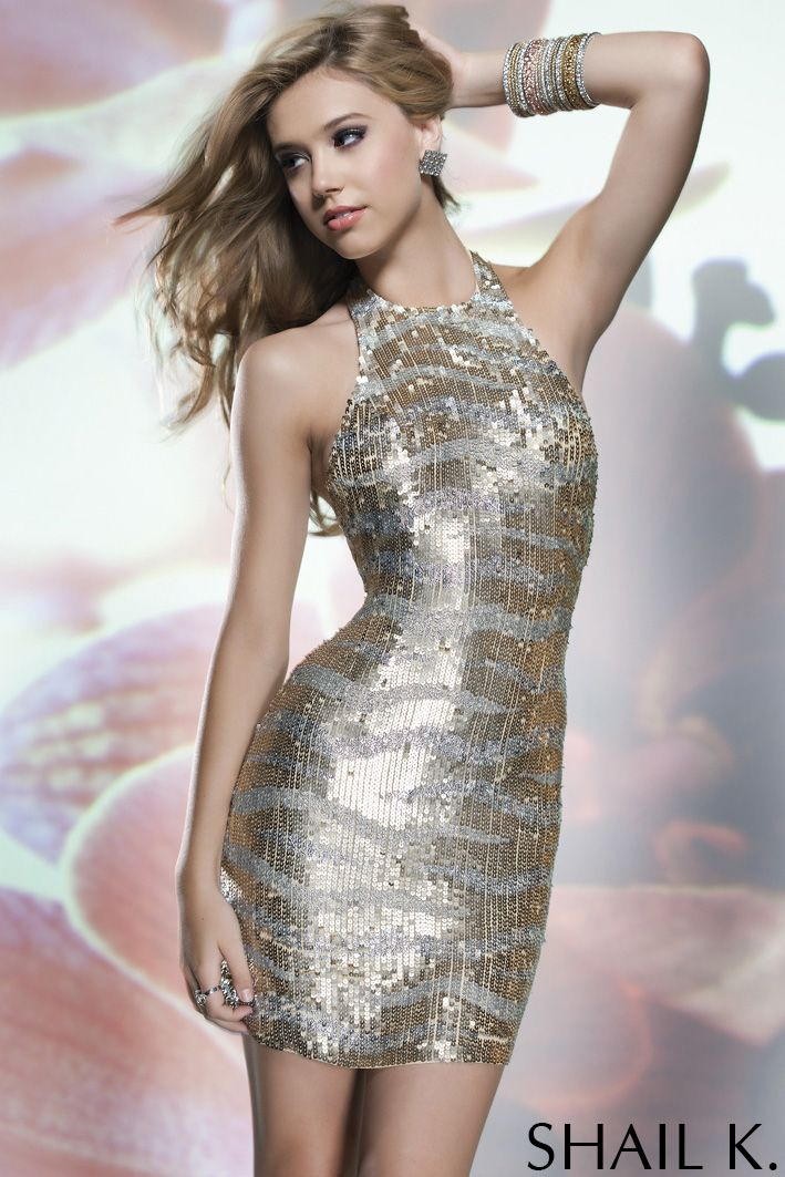 4d857ee116cbb Shail K. SK3189 Halter Gold/Lead Sequin Cocktail Dress SALE ...
