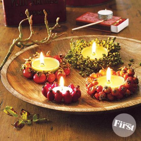 beautiful berry wrapped tea lights