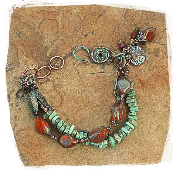 turquoise and travertine patina bracelet by rocksandpaperswans