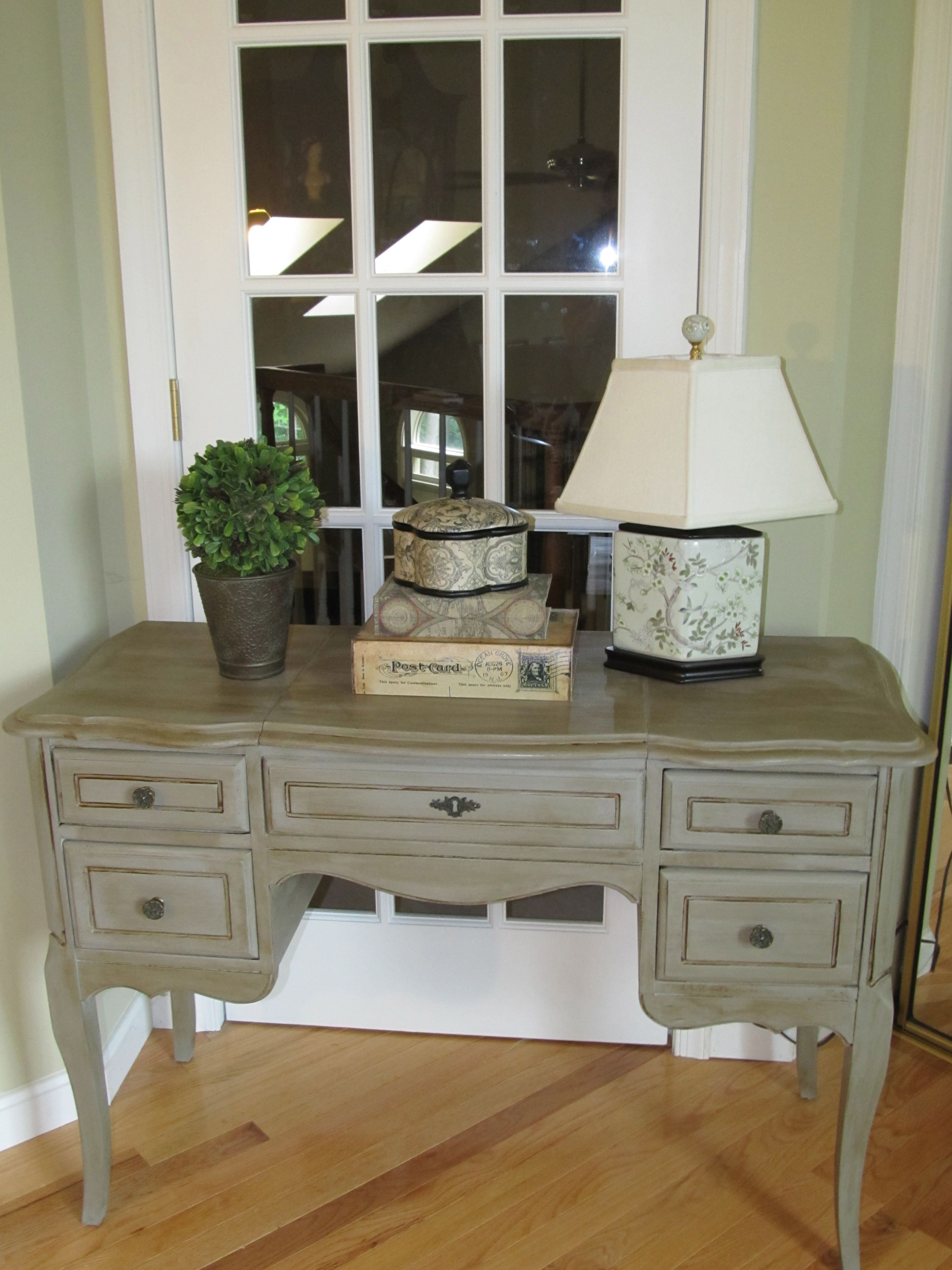 Antique desk painted with annie sloan chalk paint color for Furniture paint colors