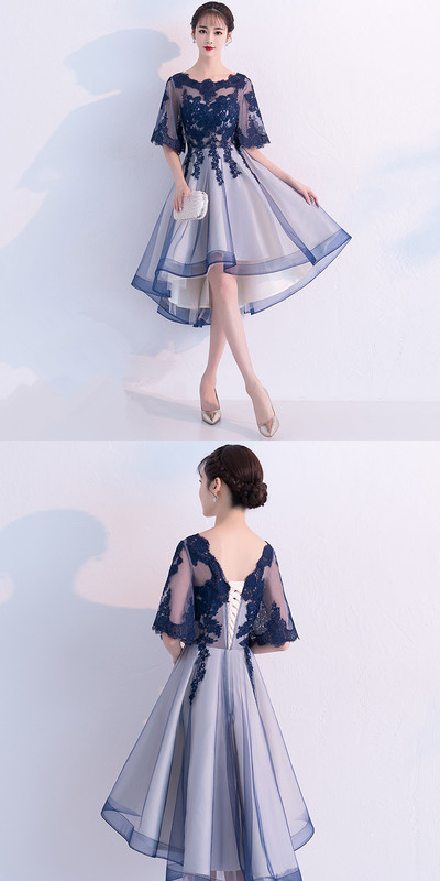 Blue lace tulle short prom dress, blue lace homecoming dress from Show Fashion – ropa