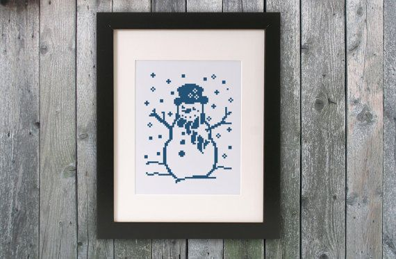 Cross stitch pattern Blue Snowman Instant di monochromexstitch