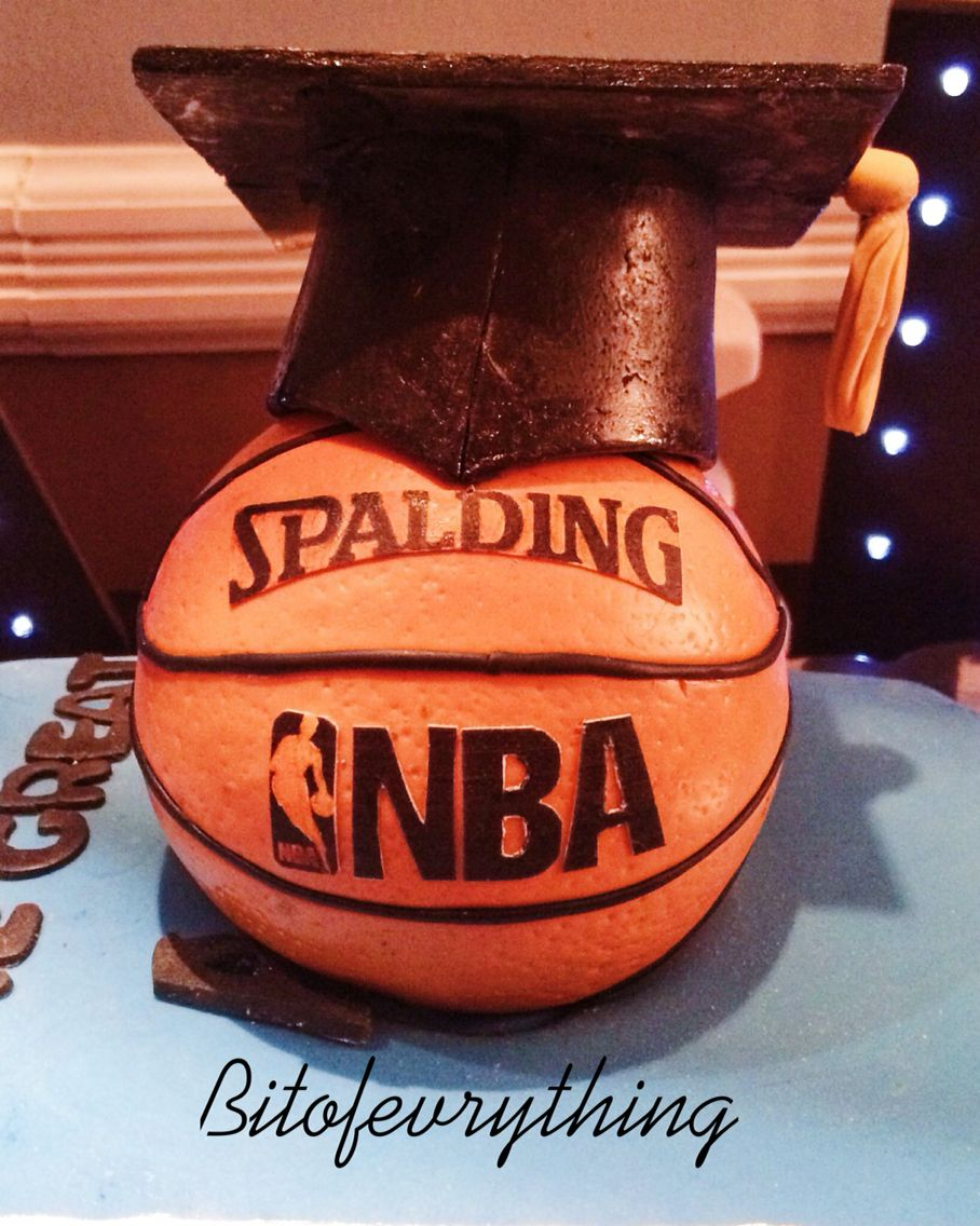 Fondant rice krispie treat nba basketball with graduation cap fondant rice krispie treat nba basketball with graduation cap cake topper biocorpaavc Images