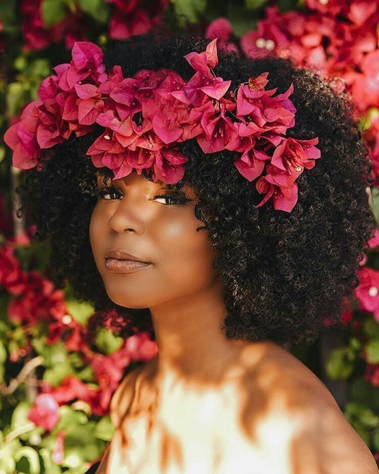 afro and flowers ebony natural