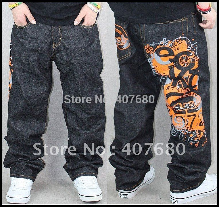 51.00$  Buy now - http://ali0of.worldwells.pw/go.php?t=555952623 - 2016 Men's Fashion Personality Punk Casual HIPHOP Street Dancing Embroidery Skateboard Loose Jeans Pus Size Drop Crotch Pants 51.00$