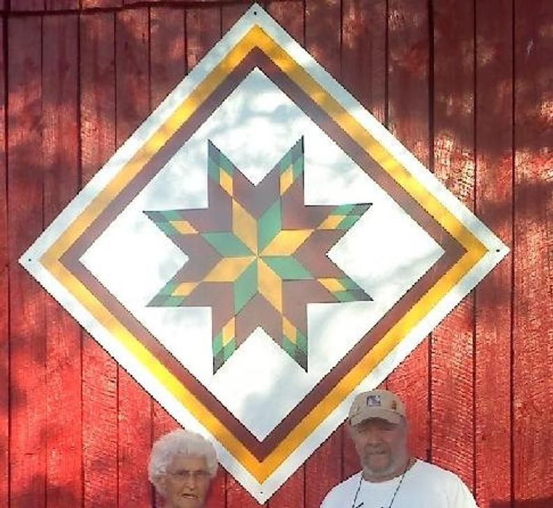 Barn Quilt, Light weight, easy to install Mountain Star w #sunbonnetsue