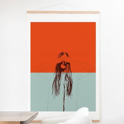East Urban Home 'The Red Wolf Woman Color 2' Graphic Art Print is part of Red Home Accessories Colour -