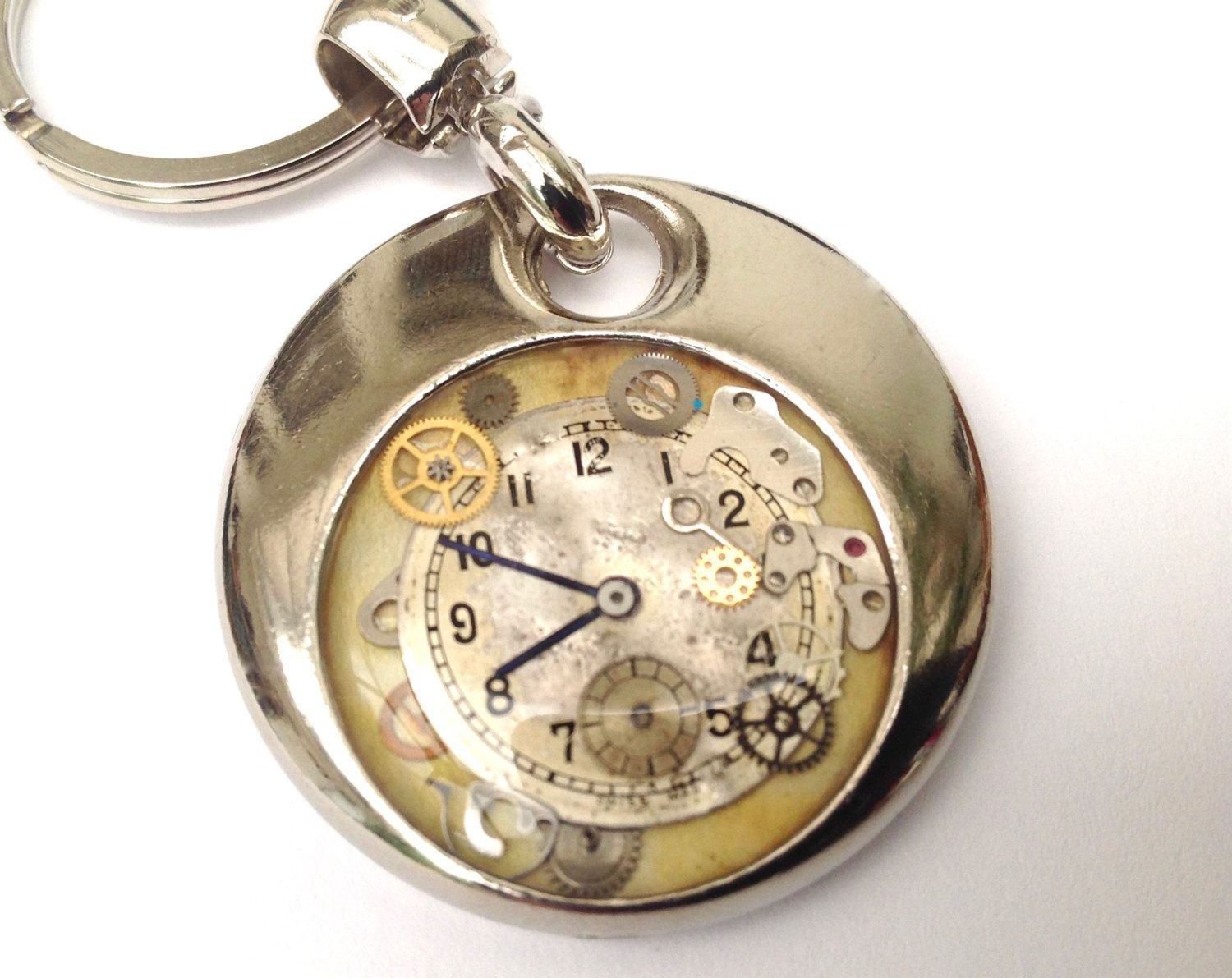 Steampunk personalised handmade & painted resin set real cogs and watch face keyring gift by ResinHead on Etsy
