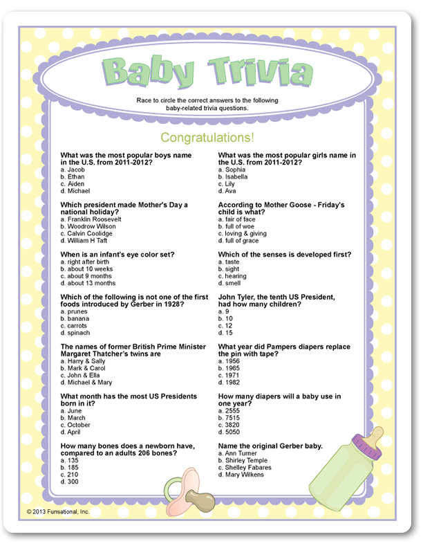 Baby Trivia Party Game Baby Shower Baby Shower Printables Baby