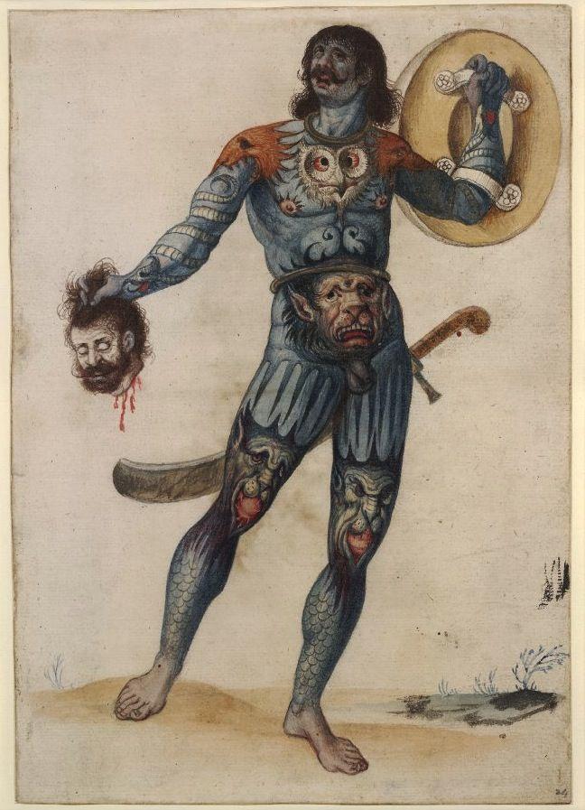 Pictish Warrior by John White, 16th c.