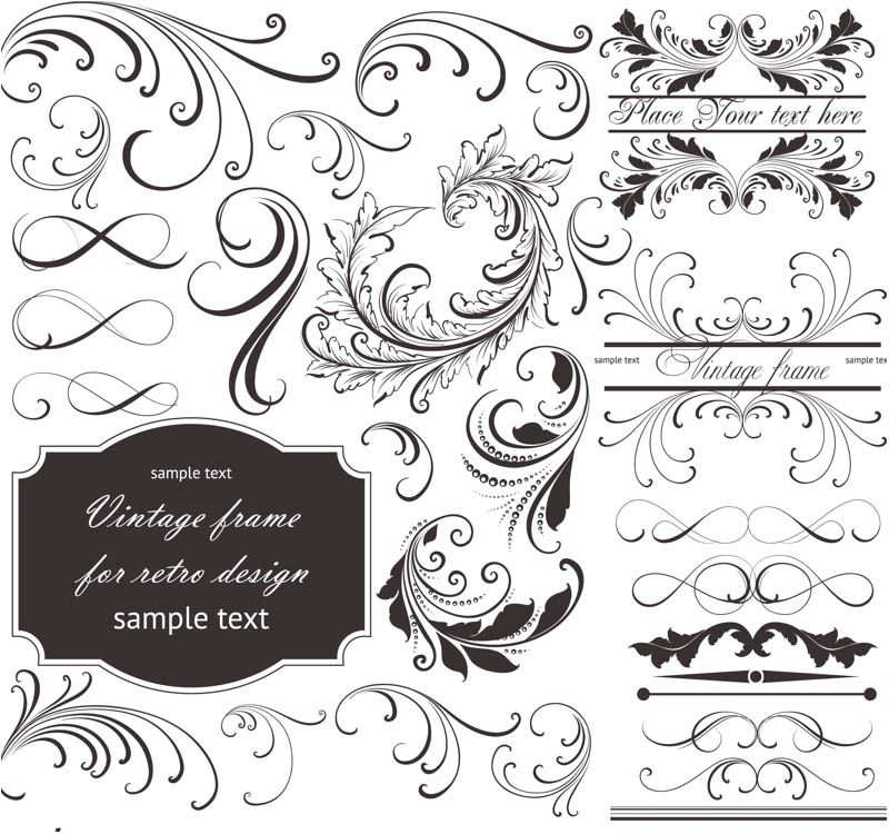 Set of vector floral frames and embellishment elements with ornate set of vector floral frames and embellishment elements with ornate swirls and curls flourish elements logos cardsvintage invitationsfree stopboris Choice Image