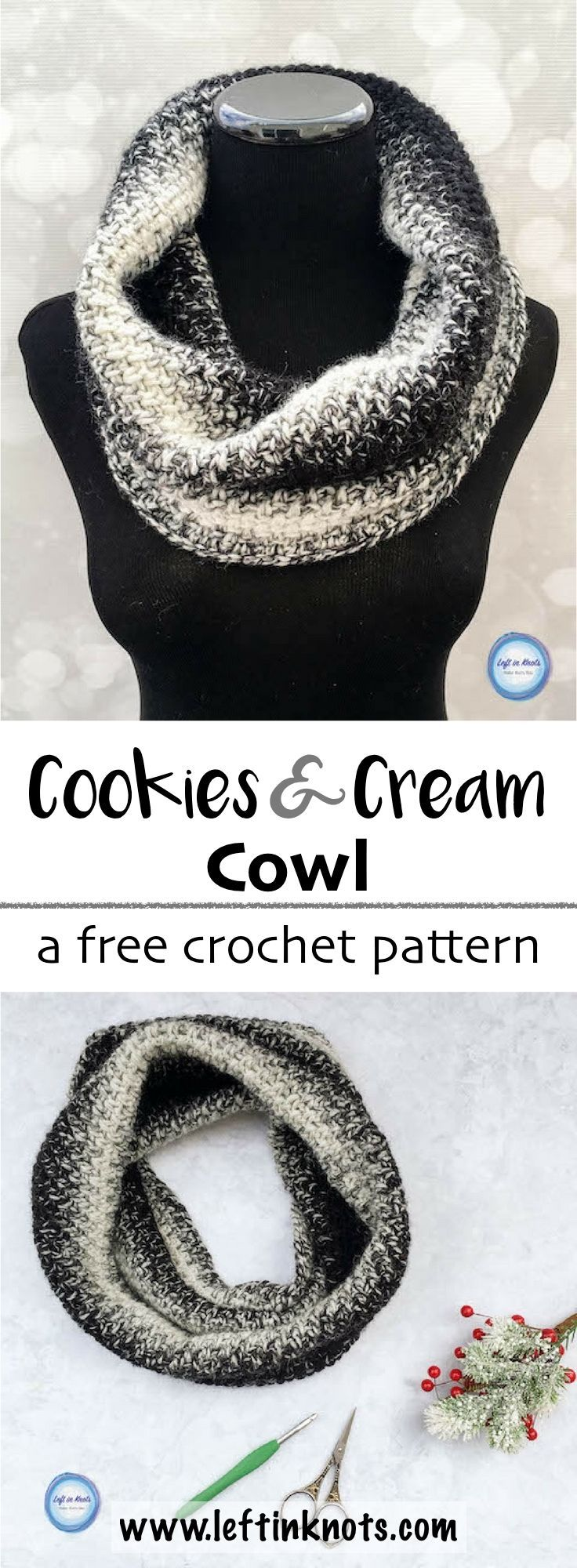Cookies and Cream Cowl Crochet Pattern | Tejido, Dos agujas y Gorros