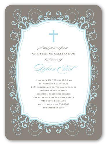 Flourished Border Boy 5x7 Christening Invitations Products