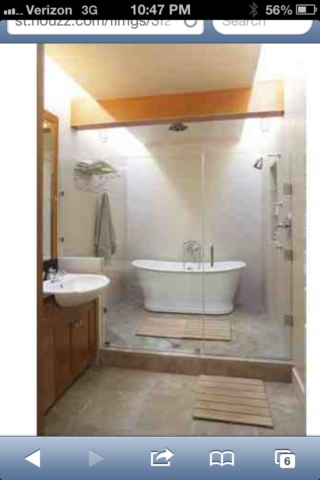 Freestanding tub in shower (With images) | Eclectic ... on Wet Room With Freestanding Tub  id=17997