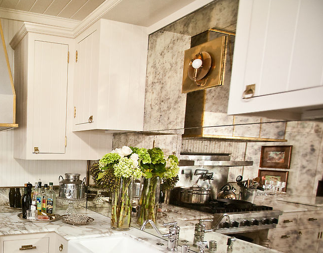 Find This Pin And More On Kitchens Love The Antique Mirror Backsplash