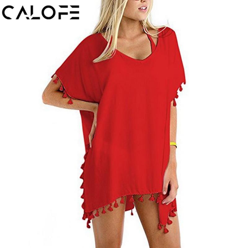 0d9f2419b316 CALOFE Women Shirts 2018 Cover Up Swimwear Tassel Crochet Tunic Summer Beach  Wear Bikini Blouse Boho V-Neck Shirts Smock  boho  bohooutfit  bohemianchic  ...