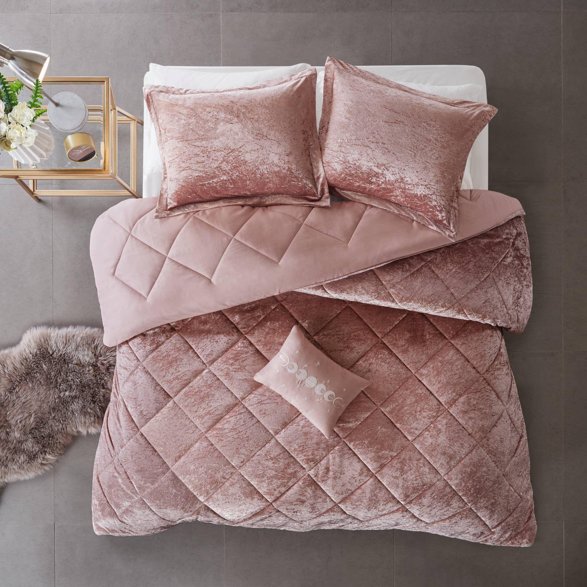 Alyssa Twin/Twin Extra Long 3pc Velvet Comforter Set Blush