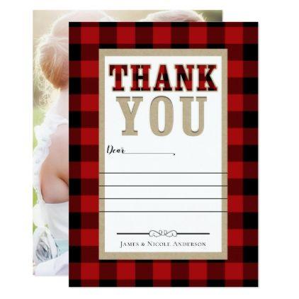 Rustic Red Black Buffalo Plaid Photo Thank You Card Wedding Invitation