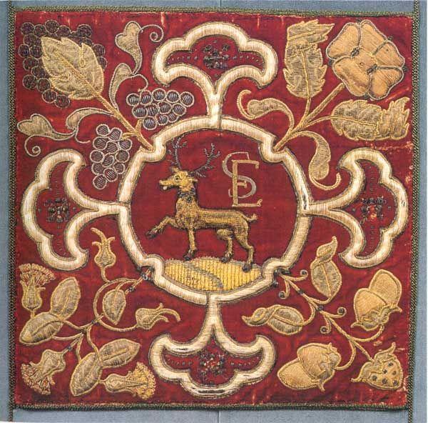 Appliquéed heraldic panel, Hardwick Hall, 16th C.